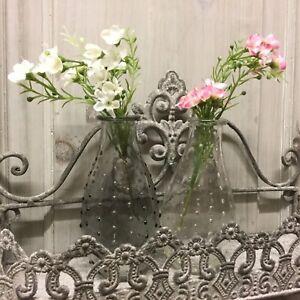 Clear / Smoke Grey Vintage Style Glass Vase Bottle Flower Dimple Effect Wedding