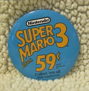 """McDonald's of Canada Nintendo Super Mario Bros. 59 cent 3"""" Pin Back Button 1990"""