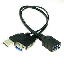 USB 3.0 Female to Dual USB Male Extra Power Data Y Extension Cable for Hard Disk