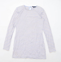 French Connection Womens Size 16 Striped Cotton Blend Blue Long Sleeve T-Shirt (