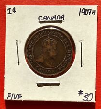 1907 H Canada Large One Cent Penny Coin - $30 F/VF