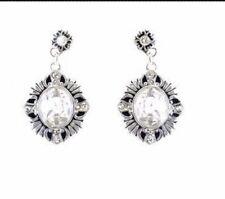 Oval Crystal Earring Silver Toned Designer Inspired
