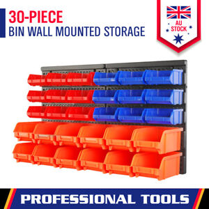 30-Piece Garage Storage Bin Rack Wall Mounted Tool Parts Organiser Box Workshop