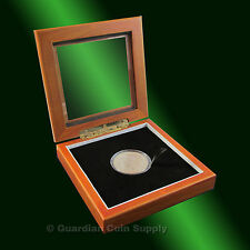 Glass Top Cherry Wood Presantation Display Box for Coin Capsules