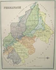 "Irish Map County FERMANAGH Norn Ireland Limerick Thomas Kelly 1882 6.75"" x 8.5"""