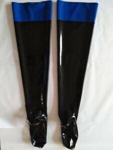 100%Latex Rubber Pure Nature Black Long Tight Stocking Sock Decorative Navy Blue
