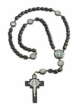 "Mens Saint St Benedict Black Wood Beaded Rosary, 2.5"" Cross, 19 Inch"