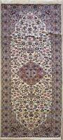 Rugstc 2.5x9 Senneh Pak Persian White Runner Rug, Hand-Knotted,Traditional,Wool