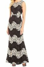 Calvin Klein Black Beige Gown Mermaid Dress Size 2 Floral Lace Contrast Maxi NEW