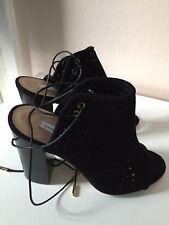DVF Black Suede Open-Toe Shoes Block Heel Sandals Size 7 US (4 UK)