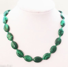 Handmade 13x18mm Oval Genuine Natural Green Malachite Gemstone Necklace 18''