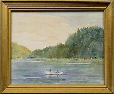 """Fishermen, Great Sacandaga Adirondack Lake Framed Watercolor"""