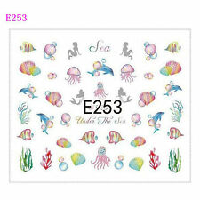 Nail Art Water Decals Transfers Stickers Sea Life Shells Dolphin Octopus E253