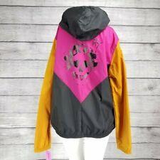 Betsey Johnson Performance Windbreaker Jacket Zip up Hooded Skull size L NWT $84