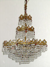 Wunderschöne Antik Messing-Bleikristall  Kronleuchter, Lüster 4 Flammig