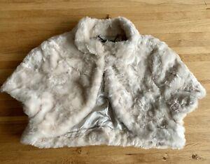 Coast Faux Fur Cream Bolero Jacket, Size Medium