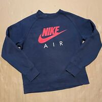 Men's Blue Nike Air Pullover Sweatshirt with Large Spellout Swoosh Logo Size M