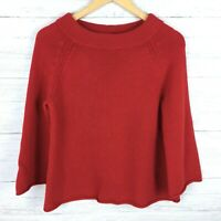J. Crew Women's Red Tunic Sweater Wool Cashmere Blend Boatneck 3/4 Sleeves Small