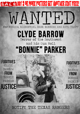 BONNIE & CLYDE WANTED POSTER GANGSTER OUTLAW BANK ROBBER BARROW PARKER