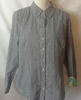Island Republic Womens Shirt Size L Black White Check L-Sleeve Button Up