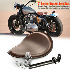 "Brown 3"" Motorcycle Leather Spring Solo Bracket Seat For Harley Chopper Bobber"