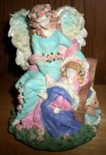 """Resin Guardian Angel Musical Figurine plays """"Mozarts Lullaby"""" Good Cond IOB R5"""