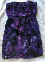 LC Lauren Conrad Floral Strapless Dress Purple Black Size 8 Holiday Party