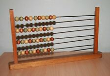Vintage Wooden Counting Abacus 40 Beads 4 Metal Rods