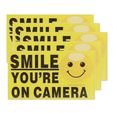 """SS 5x """"Smile You're On Camera"""" Self-adhesive Video Alarm Safety Warning Stickers"""