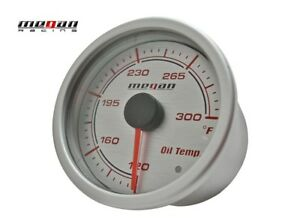 Megan Racing Version 2 Oil Temperature Meter Gauge Silver Face 52mm LED lamps