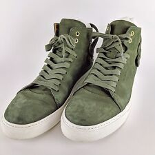 BUSCEMI Ronnie Feig Green Italian Leather Lock High Top Fashion Sneakers Size 45