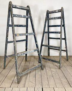 Vintage Pair Of Original Painted Shop Display Ladders