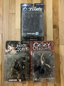 McFarlane Toys Lot Of 3 Rock Figures - Rob Zombie ALICE COOPER Ozzy Ozbourne