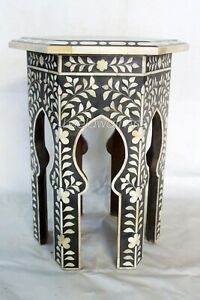 Bone inlay Flower Design Side Stool Table Antique Side Table