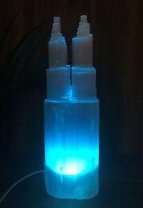 "15""-18"" Extra Large Selenite Lamp And Cord LED Multi Color Selenite Lamp Tower"