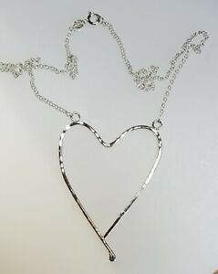 Handmade sterling silver open heart necklace