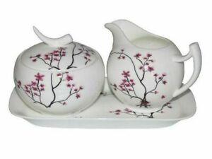 TeaLogic Cherry Blossom Milch und Zucker Set - Fine Bone China Porzellan