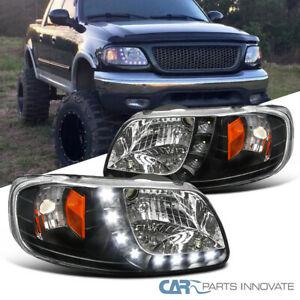 For 97-03 Ford F150 Expedition Pickup Black Headlights w/ SMD LED Strip Pair