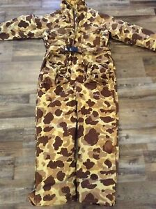 USA Vintage Cabelas Gore-Tex Thinsulate Camo Hunting Coveralls. MEDIUM Sidney
