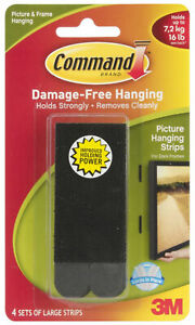 3M Command Large Picture Hanging Strips Black Damage Free Holds 16lb 7.2kg