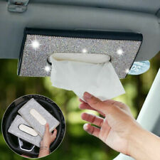 Bling Rhinestone Diamond PU Tissue Box Cover Car Sun Visor Napkin Case Holder