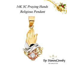 Praying 14k hands gold pendant charm yellow religious 1.6grams new cross 2 tone
