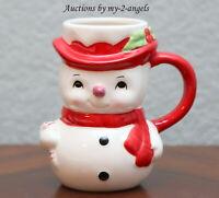 NEW Pottery Barn Christmas SNOWMAN FIGURAL MUG Holiday Vintage Coffee Cocoa Cup