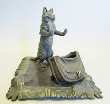 Superb & Large Signed Bergman Austrian Bronze Sculpture of Cat on Rug   Antique