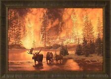 LEGACY by Jim Tschetter 24x34 Framed Print Picture Moose Forest Fire Bull Cow