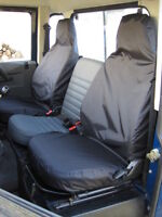 Land Rover Defender 1983-07 Front Pair Tailored & Waterproof Seat Covers Black