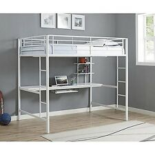 We Furniture Bdozwh Premium Metal Full Size Loft Bed With Wood Workstation-White
