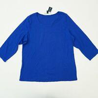 Karen Scott Womens Top Plus Size 3/4 Sleeve Scoop Neck Tee T Shirt Blue