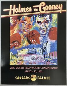 Larry Holmes Signed Fight Poster 22x28 Boxing Auto Gerry Cooney LeRoy Neiman JSA