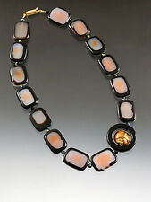 CLOSEOUT SAMPLE SALE - BESS HEITNER DISCO AGATE BROWN-AGATE NECKLACE